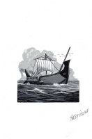 Viking Ship by Harry Roland Comic Art