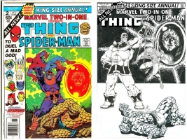 Marvel Two-In-One Annual #2 - Jim Starlin & Joe Rubinstein - One Minute Later - Thanos, Warlock, etc. Comic Art