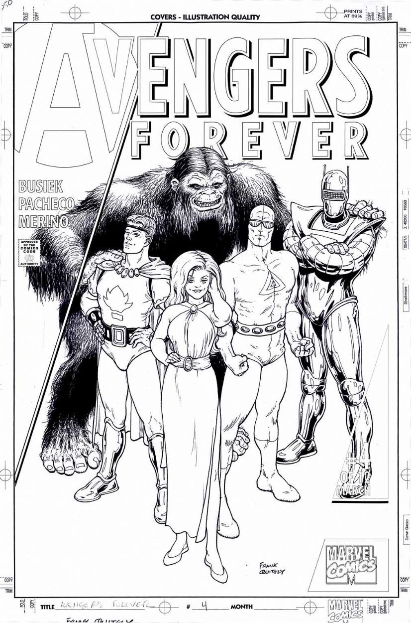 Avengers Forever #4 Variant Cover by Frank Quitely Comic Art