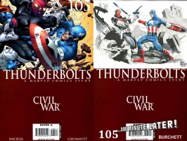 Thunderbolts #105 - Rick Burchett - One Minute Later (Cap v Zemo), Comic Art