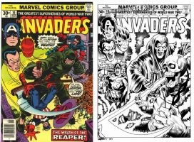 Invaders #10 - David Golding - One Minute Later - Cap & Bucky v. The Reaper Comic Art