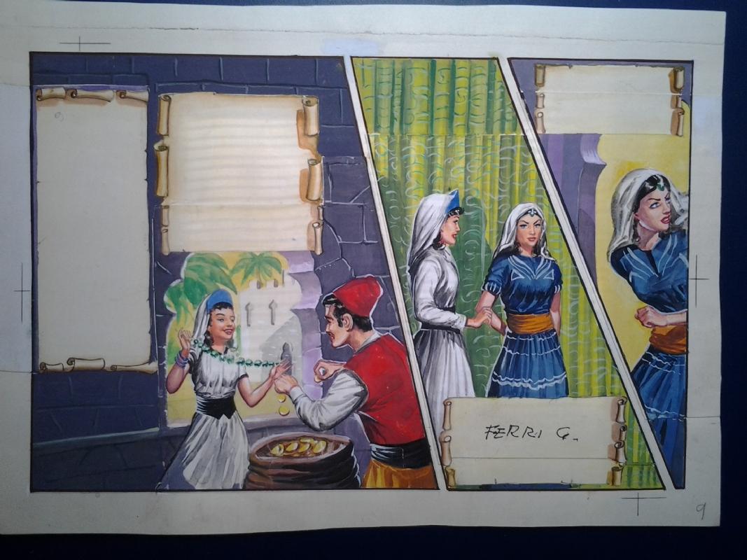 GALLIENO FERRI - tavola a colori Ali Babà 1955 (da rivista Comic Art)