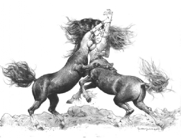 Centaur girls fighting Comic Art
